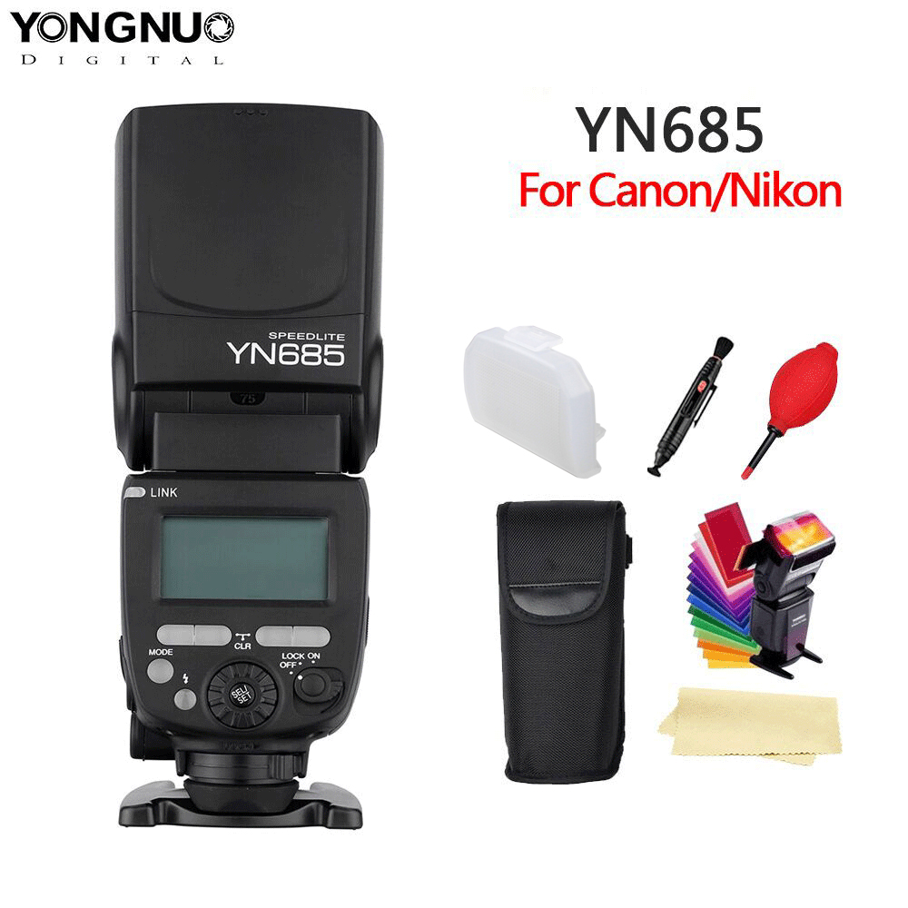 YONGNUO YN685 N/C Flash HSS 2.4G GN60 Wireless Master/Slave Speedlite TTL Speedlight for Canon Nikon Camera-in Flashes from Consumer Electronics