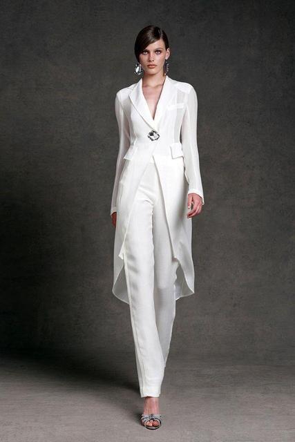 1ebd5d4b8 Cuello en V manga larga Formal vestidos de fiesta hasta el tobillo modesto  gasa Madre de la novia vestidos pantalones trajes con chaqueta