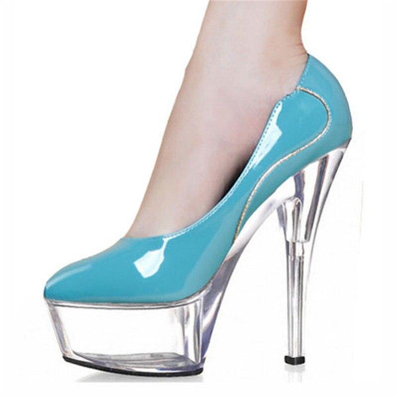 Cm De Charol Solo Altos Señaló Un Fino Nuevos 2018 Primavera Profesional Talón Mujeres 15 Tacones Zapatos 15 15cm Las Cielo Color pd8qq