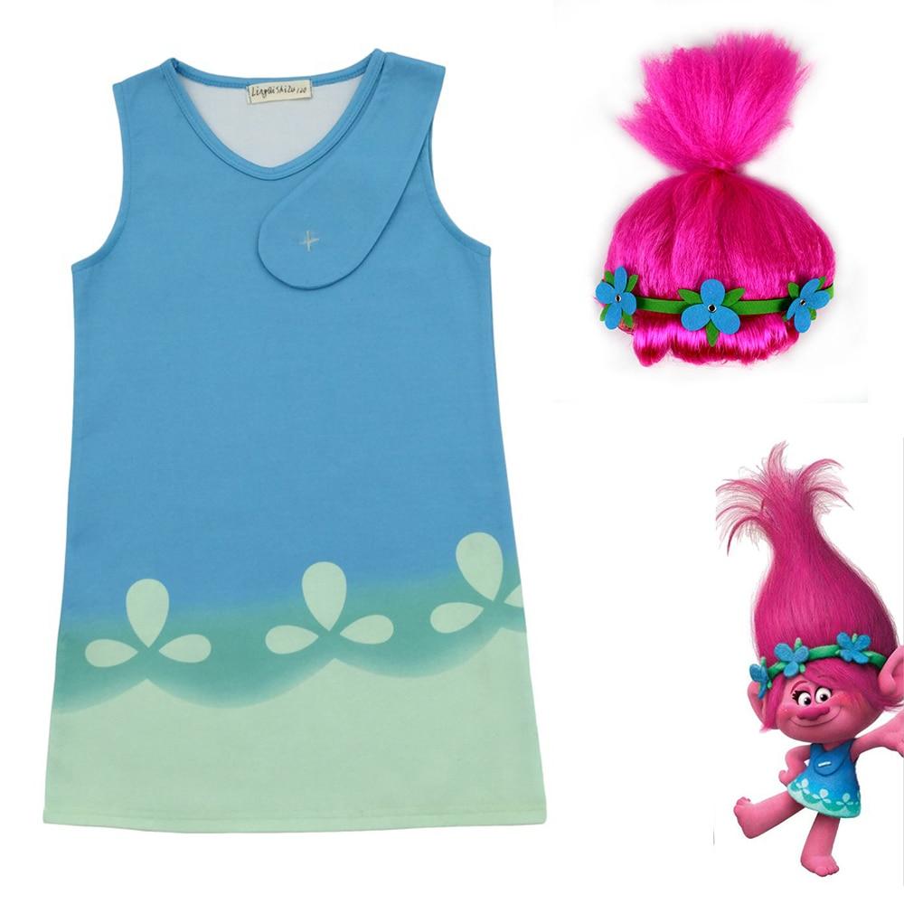 New Cartoon Trolls girl dress Kids princess shirt trolls cosplay costume with hair headpiece cap 3-8 Year