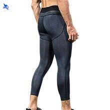 3D baskı erkek koşu tayt 3/4 sıkıştırma spor tayt spor salonu spor spor kapri yoga pantolonu buzağı uzunluğu kırpılmış pantolon