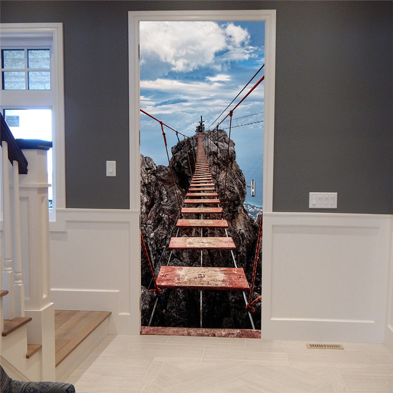 2 sheets/pcs Suspension Bridge Waterproof Door Sticker DIY Landscape Mural Paper Creative Wall Poster for Bedroom Corridor Decor