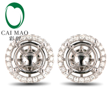 Anniverary 14K White Gold Natural 0.28ct Diamond Engagement Earrings Jewelry Semi Mount 6.5mm Round Cut Setting