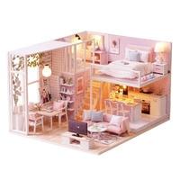 Apartment Kit Children DIY Gift Christmas Villa Miniature Furniture LED Light Wooden Assembling Toy Battery Powered Doll House