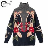 ORDEESON цветок ручной вязки водолазка женские свитера и пуловеры длинный рукав женский 2017 свитер платье Рождественский свитер