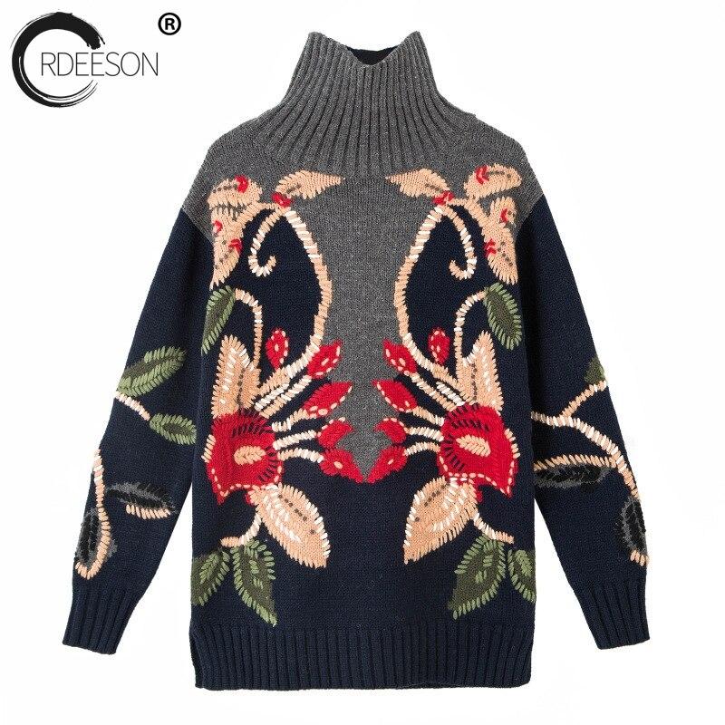 Ordeeson цветок ручной вязки водолазка Для женщин Свитеры для женщин и Пуловеры для женщин с длинным рукавом женский 2017 Платья свитеры Рождеств