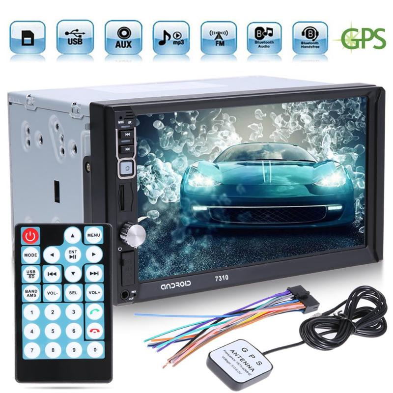 7 2 Din Touch Screen Bluetooth Auto GPS Navigator Car Android 4 Core MP5 Player FM Radio Autoradio with Map Remote Controller