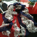 Novelty Beach Towel Blue Polka Dot Polyester Scarf Fresh Breeze Women Shawl Designer Scarves Soft Warm Winter Scarf BL-0009
