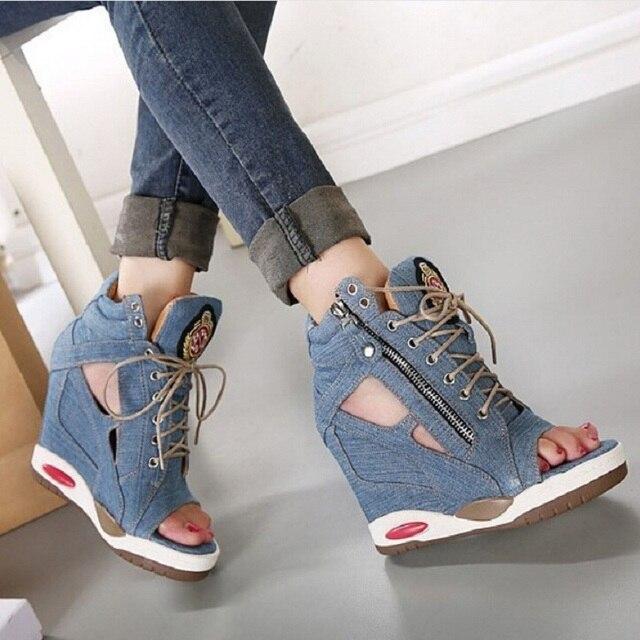 Shoes For Women Denim Wedge Heel Wedges Open Toe Sandals Casual Black Gray