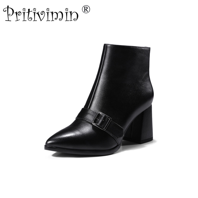 2018 New  autumn winter brand ladies high quality shoes woman black genuine leather thick low heel ankle boots Pritivimin FN130 autumn and winter new ladies genuine