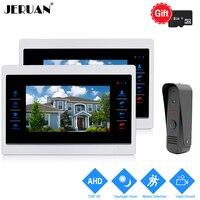 JERUAN 720P AHD HD Motion Detection 10 inch LCD Video Door Phone Intercom System 2 Record Monitor +1.0MP HD IR Mini Camera 1V2