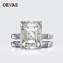 Cuevas Conjunto de anillos de princesa de moissanita, 100% Plata de Ley 925, Diamante brillante de alto carbono, joyería fina para fiesta de boda
