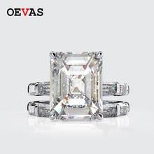 OEVAS 100% 925 סטרלינג כסף נוצר Moissanite נסיכת טבעות סט נוצץ גבוהה פחמן יהלומי מסיבת חתונת תכשיטים