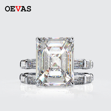 Oevas 100% 925スターリングシルバー作成モアッサナイトprincessリングセットスパークリング高炭素ダイヤモンドウェディングパーティーファインジュエリー