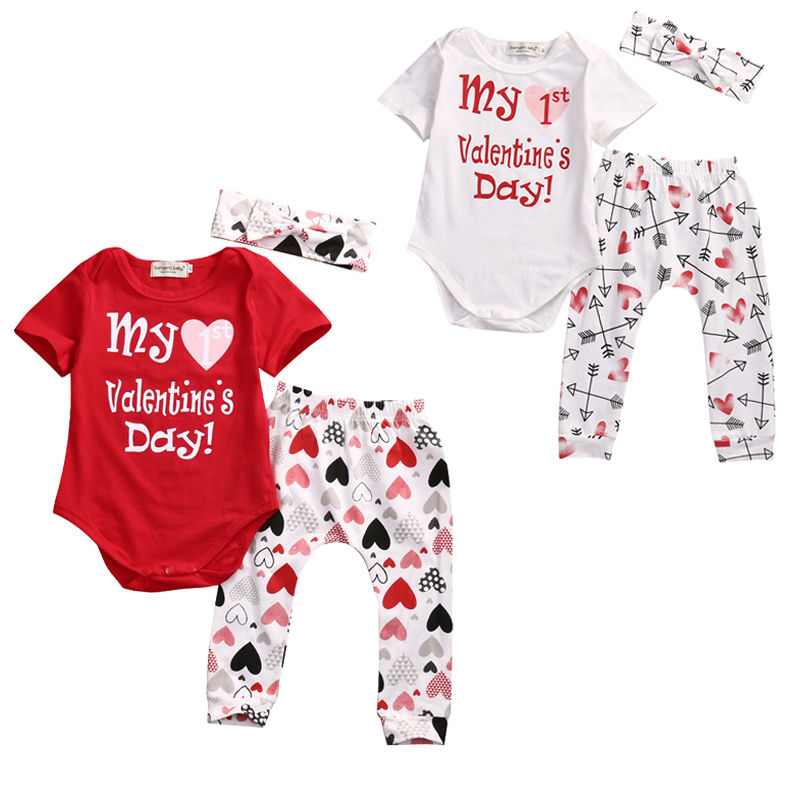 Cute 3pcs Baby Girl Boy Clothes Set Love Suit Newborn Bodysuits Pants Short  Sleeve My Valentine Outfits Clothing In Clothing Sets From Mother U0026 Kids On  ...