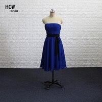 짧은 블루 들러리 드레스 끈이 무릎 길이 라인 쉬폰