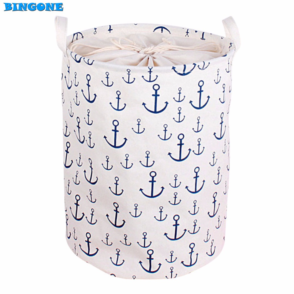 New Cotton Linen Fabric Foldable Cartoon Bathroom Dirty Clothes Large Laundry <font><b>Storage</b></font> Buckets Bags Kids Toy <font><b>Storage</b></font> <font><b>Basket</b></font> -45