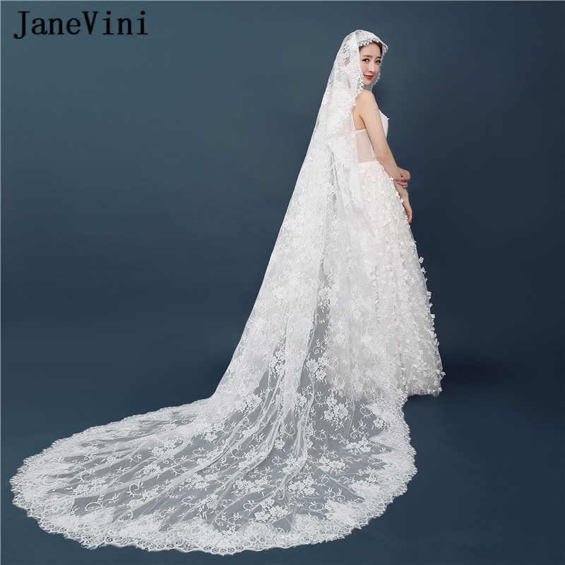 JaneVini 2018 Vintage Lace Cathedral Length Bridal Veils One Layer Lace Edge Long Bride Wedding Accessories