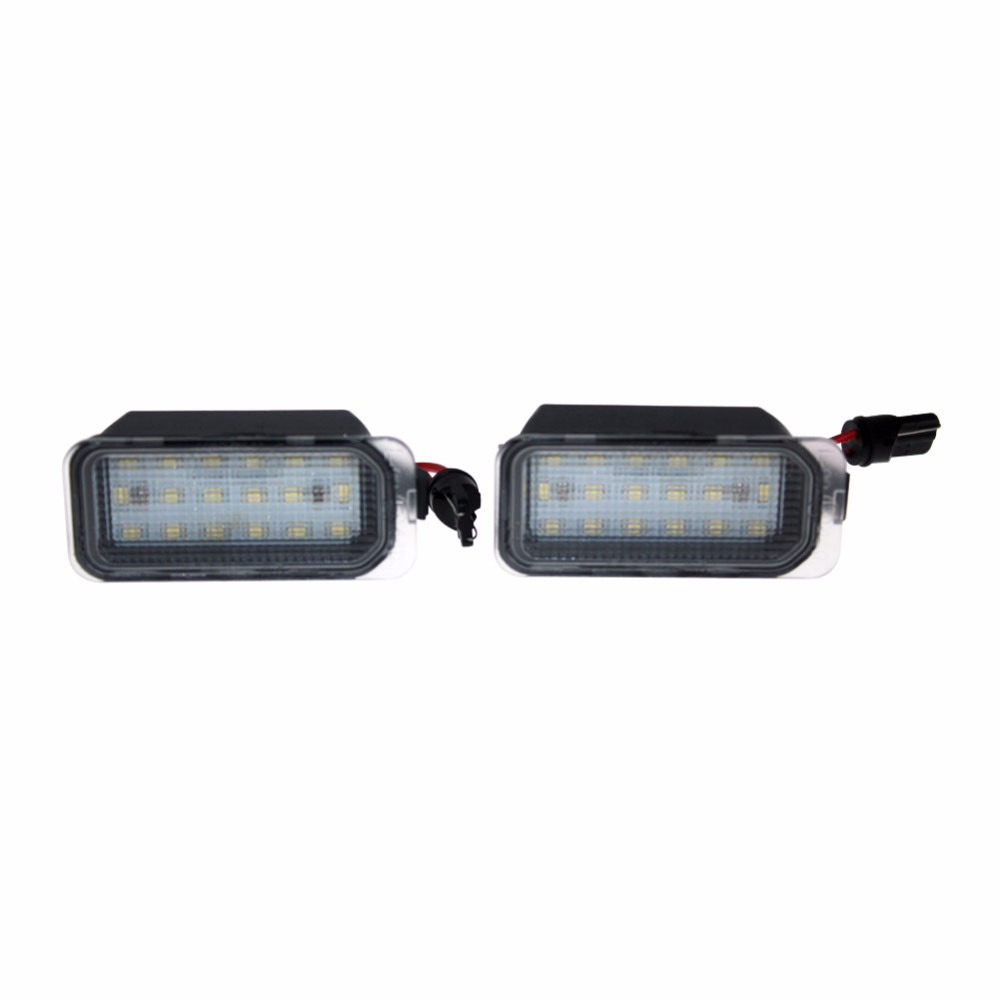 2 Car Styling Error Free LED Rear License Plate Light For Ford Fiesta JA8 Focus DA3 DYB S-max C-max Mondeo Kuga Jaguar Auto lamp 2x no error 18led smd3528 car led license plate lights for ford focus da3 dyb fiesta ja8 mondeo mk4 mk5 c max s max kuga galaxy