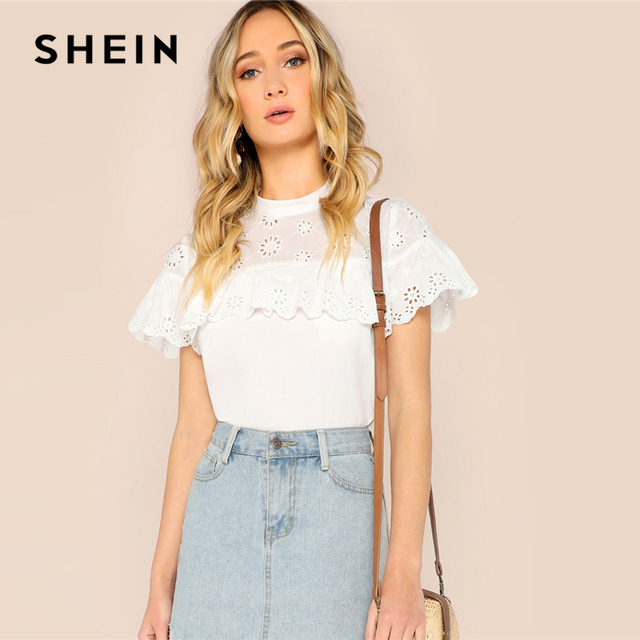e4c3bc119fc7ab SHEIN White Mock-Neck Ruffle Trim Eyelet Embroidered Top Blouse Women 2019  Spring Stand Collar Flounce Sleeve Top Blouses
