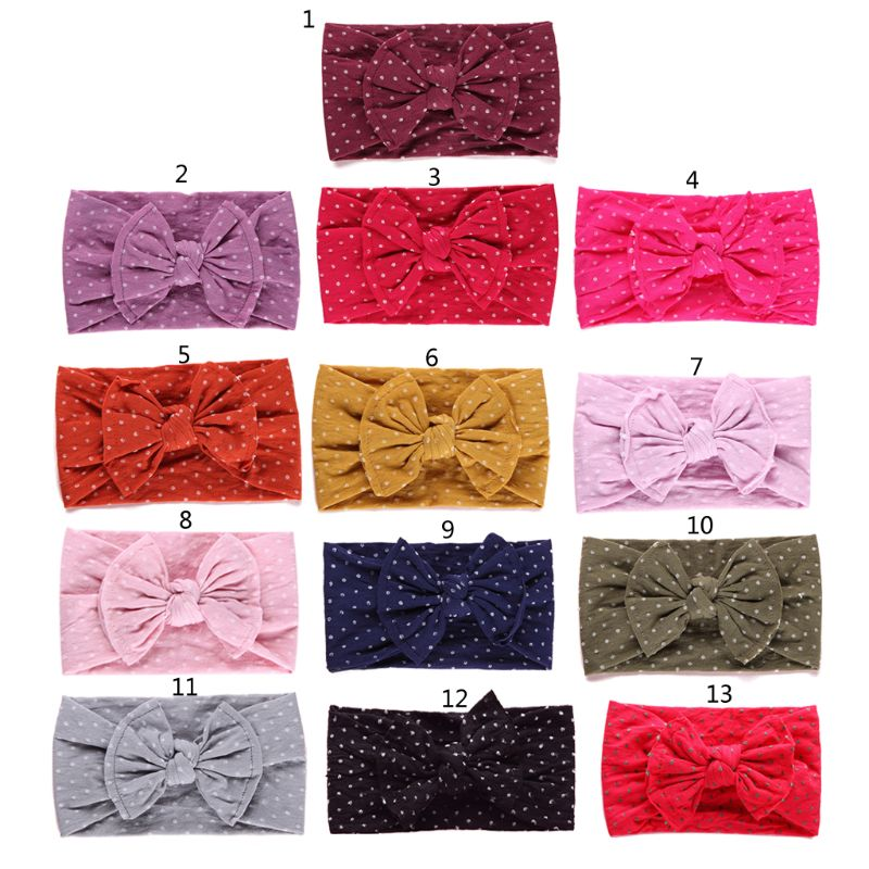 1PCS New Baby Dot Width Nylon Headbands Two Sew Line Bow Headband Knot Nylon Headwear Turban Girls Hair Accesseries(China)