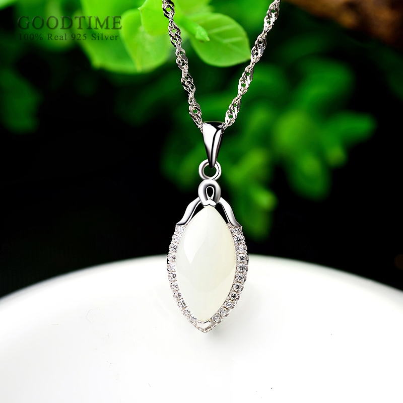 Elegant Real 925 Sterling Silver Necklaces Zircon Pendant Necklaces Chain Gift For Women Girl Jewelry