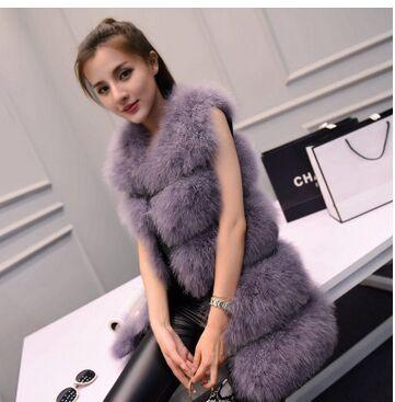 Новая мода женский зимний шифрование натуральные перья страуса индейка перо меховой жилет шуба горячая распродажа - Цвет: purple grey
