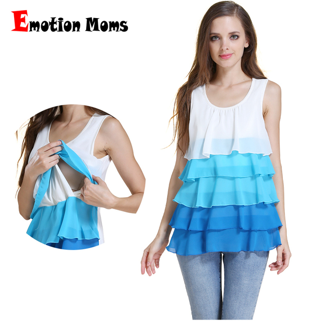 Emotion Moms Multilayer stack Maternity Clothes Chiffon Breastfeeding Nursing Tank Tops For Pregnant Women maternity Top Vest