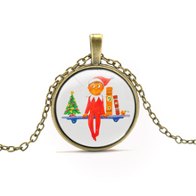 New Arrivals The Elf on the Shelf Pendant Necklace Little Elf Christmas Tree Pattern Necklace For Boy Girls Gift Cartoon Jewelry