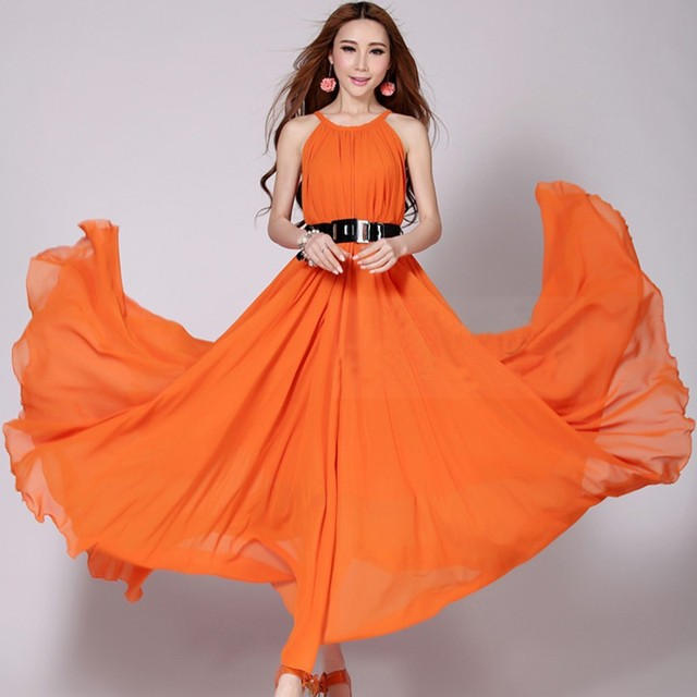 US $26.39 |2015 Long Summer Bohemian Chiffon Vestidos;Women Maxi Evening  Strapless Plus Size Dresses Online-in Dresses from Women\'s Clothing on ...