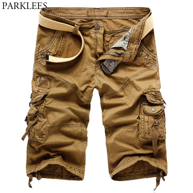 Marka Yaz Kargo Şort Erkekler 2018 Yüksek Kaliteli Pamuk kısa pantolon Erkekler Rahat Tasarım Askeri Gevşek Şort Cepler ile Hiçbir Kemerler