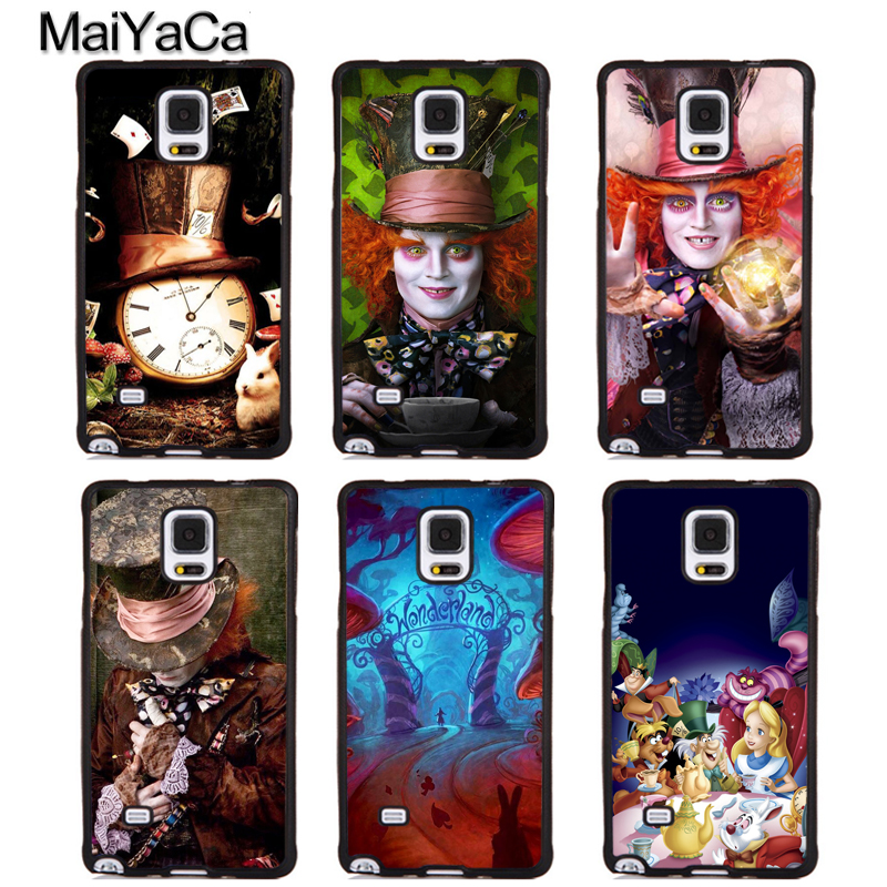 MaiYaCa Alice in Wonderland Mad Hatter Cute Phone Cases For Samsung Galaxy S5 S6 S7 edge Plus S8 S9 plus Note 4 5 8 Cover Shell