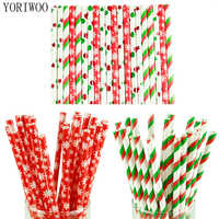 YORIWOO 25pcs Paper Drinking Straws Snowflake Paper Straw Merry Christmas Decoration For Home Happy New Year Party Tableware Red