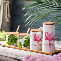 NEWYEARNEW Hawaii Flamingo Ceramic Spice   Storage     Bottles     Jars   Kitchen Tools Set Combination Package Home Decoration Wedding Gift