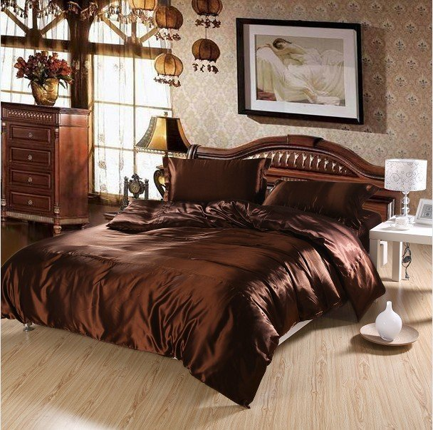 New Arrivals Super Soft and Smooth Coffee Solid Pattern 4Pcs Imitated Silk Full/Queen Size Duvet Cover Bedding Sets