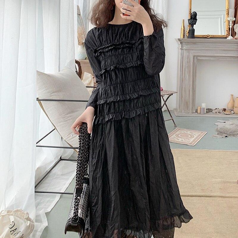 Coréen 2019 printemps et été nouvelle robe en mousseline de soie noire lâche personnalité élégante mode robe décontracté solide plein volants
