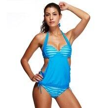 Sports Striped PrintingTankini Set Women Sexy Swimwear bule striped bra and bottome swimsuit XL