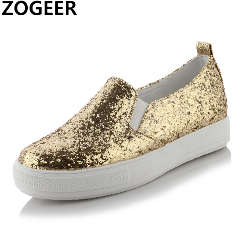 Spring New Designer Sneakers Women Brand Wedge Heel Sequin Bling Glitter Platform Casual Shoes Female Ladies Shoes Woman