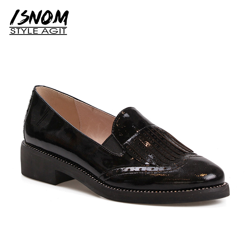 ISNOM Genuine Leather Tassel Women Flats Round Toe Flat Sole Shoes Rivet Footwear 2018 New Autumn Ladies Loafers Female Shoes 2016 the new leisure women pointed toes loafers leopard black gray female rivet flat shoes for women s shoes a24