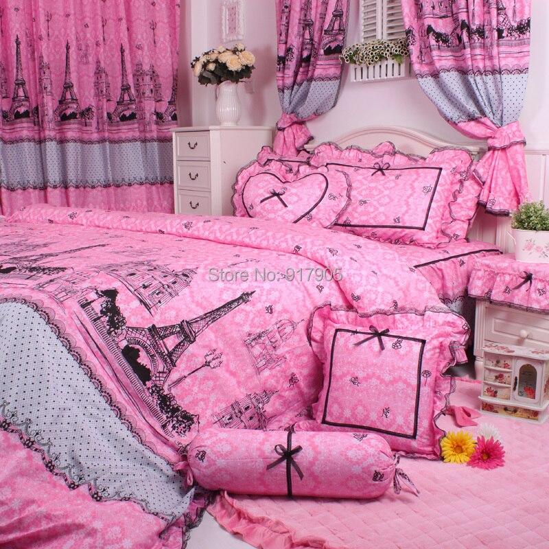 Elegant Eiffel Tower Bedding Set Pink Vintage Floral Bed