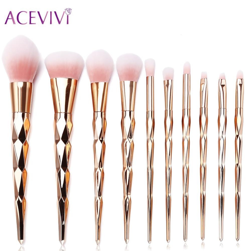 ACEVIVI 10Pcs Makeup Brushes Professional Cosmetic Make Up Brush Set Eyeshadow Eyeliner Brushing Brush Kits High Quality Tools