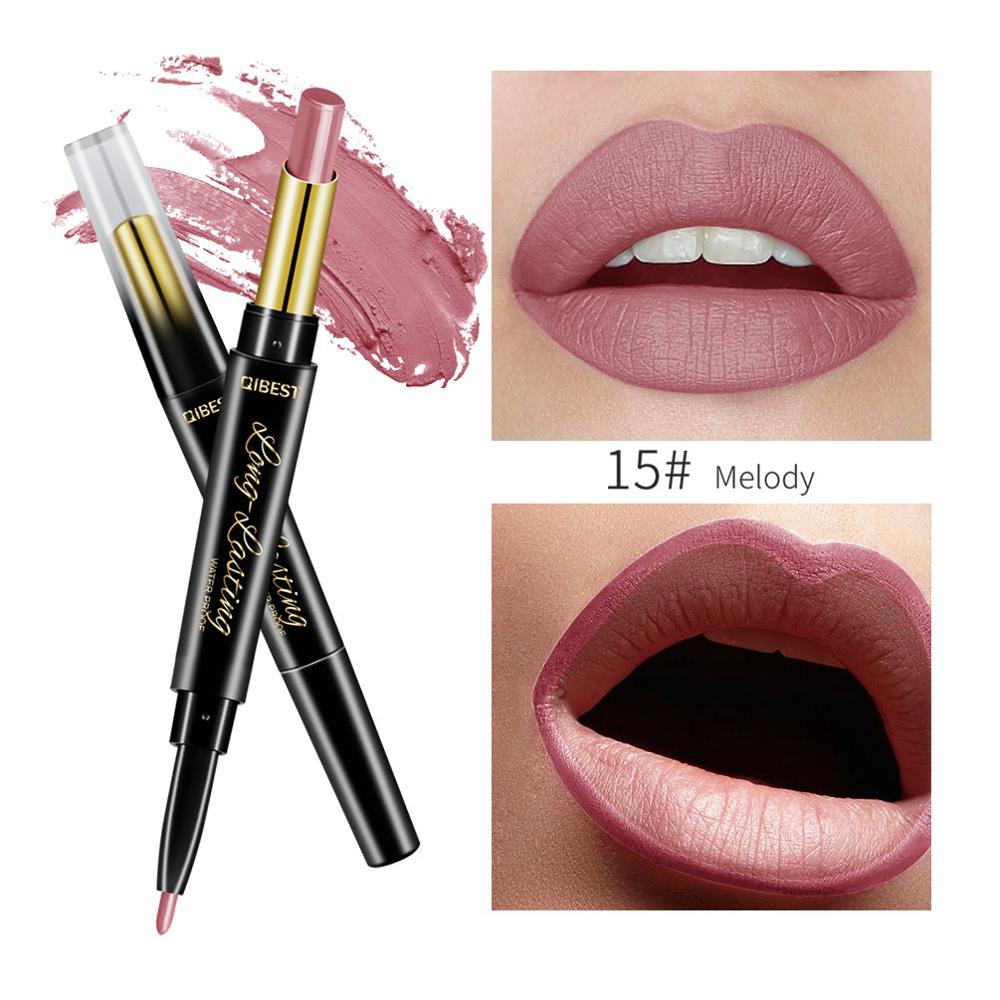 Brand makeup lipstick double-end 15 color matte waterproof pencil lip liner sexy red cosmetics