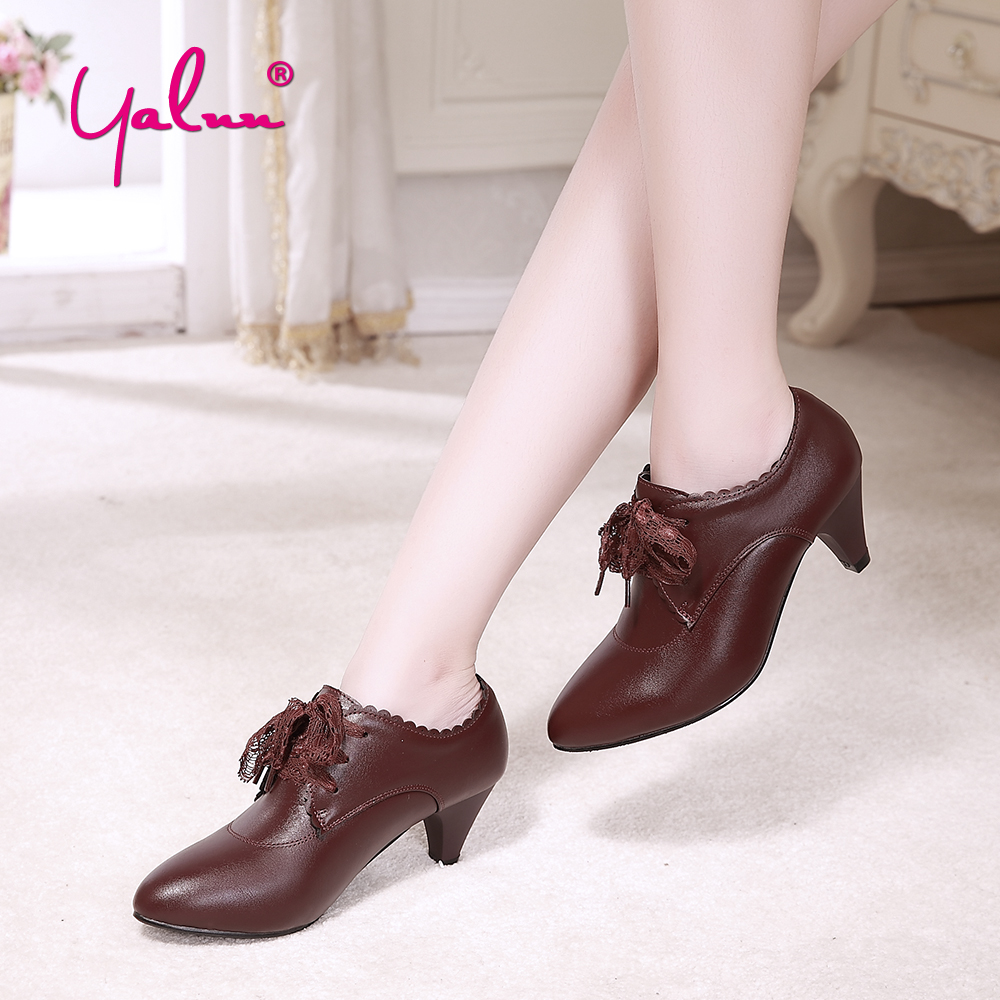 5cm Pointed Toe Sexy High Heels Size 43 Pumps Leather Lace Up Wine Red Shoes Ladies Black Ankle Casual Shoes Boots Women Spring zjvi woman pointed toe thick high heels pumps 2018 women spring autumn lace up shoes ladies women s female nubuck casual pump