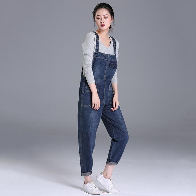 Women Jumpsuits Loose Vintage Strap Rompers Casual Pocket Denim