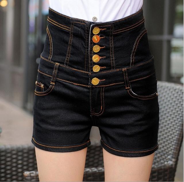 S-5XL Novas Chegadas Mulheres Cintura Alta Shorts Jeans Plus Size Para As Mulheres Estilo Verão Shorts 2015 Shorts Jeans frente Botton