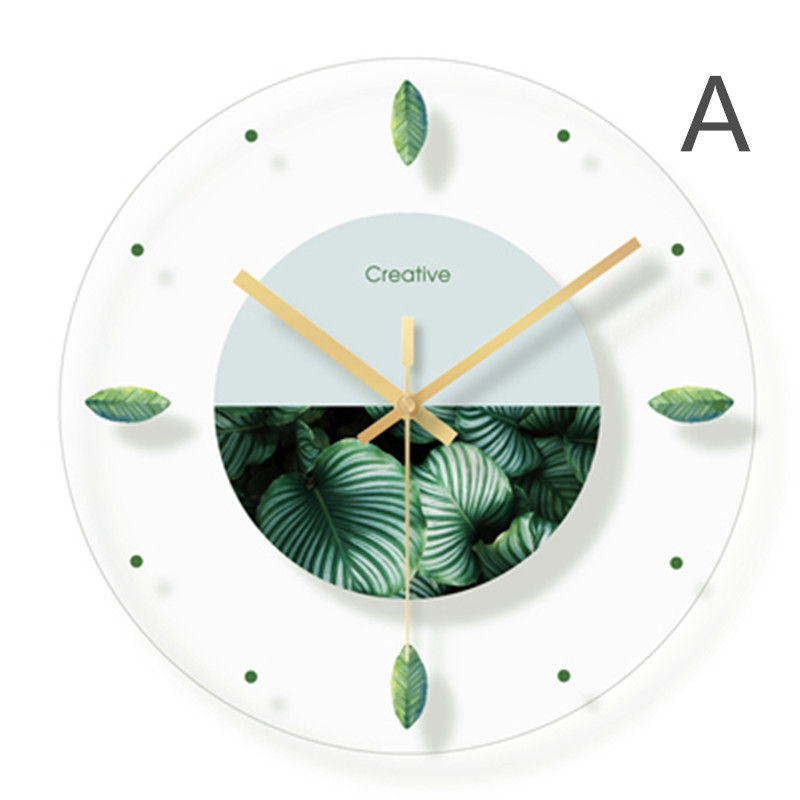 Green plant flower decoration wall hanging room clock (1)