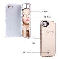 Selfie LEVOU Luz Espelho Caso de Telefone para o iphone 6 6 S 6 mais a Luz do Flash Luminoso tampa flip para o iphone 7 plus 7 Compõem 4.7, 5.5''