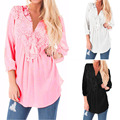 Fashion New Women Lace Stitching Sexy Casual Loose Blouse 2017 Spring Crochet V neck 3/4 Sleeve Solid Long Shirts Blusas