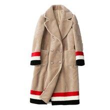 Arlene sainはカスタム女性三色コントラストカラーデザイン群がっウール毛皮のコートfreemshipping