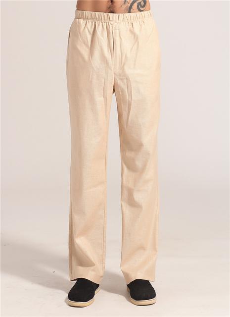 Primavera Outono Bege Dos Homens Chineses de Kung Fu Tai Chi Pant Algodão Calças de linho Vestuário Tamanho S M L XL XXL XXXL MNP06
